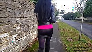 Spying on hot black brown angie in miniskirt, long...