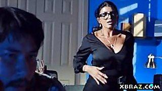 Milf teacher shows a porn clip scene scene in class and fu...