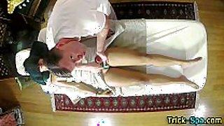 Massaged asian legal age teenager rub