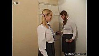 Two schoolgirl sluts in uniform smokin' and wan...