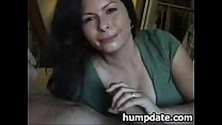 Sexy filthy bitch Married slut gives blowjob and swallows