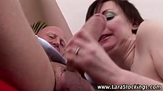 Mature nylons floozy gets spanked