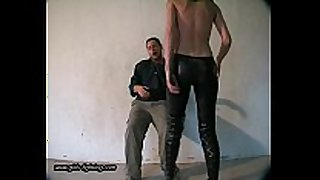 Girl in leather panties kick a chap 01