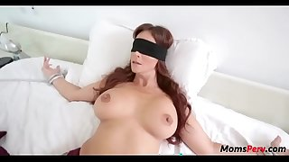 Perv laddie copulates mom's mouth when shes blindfolded!
