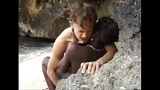 African legal age teenager receives anal screwed aloft an obstacle seaside