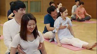 Mirthful yoga duplicity and bosom grabbing