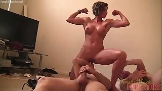 Female muscle porn star domina amazon is masturbating