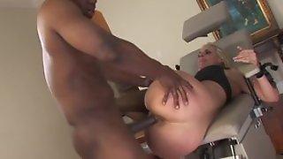 Hot blonde milf in wild hardcore sex after licking balls of ebony black male