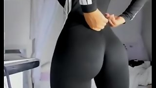unrestricted arse connected with black yoga pants