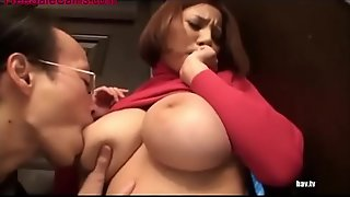 Weirdo follows busty chick home and get fucked