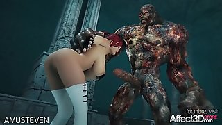 3d animation moster sex with a red hair big tits babe
