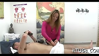 Uncompromisingly sexy masseuse rides client