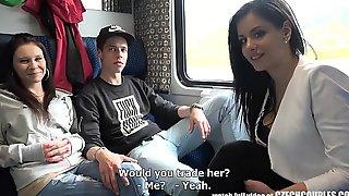 Foursome sex relative to public train
