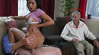BLUE PILL MEN - Gorgeous Black Pornstar Aaliyah Hadid Takes These Old Men For A Ride!